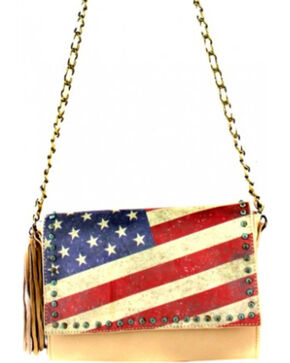 Montana West Vintage America Flag Crossbody Handbag, Khaki, hi-res