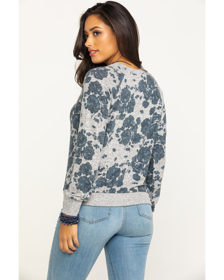 Z Supply Women's Grey Floral Pullover Sweater, Grey, hi-res