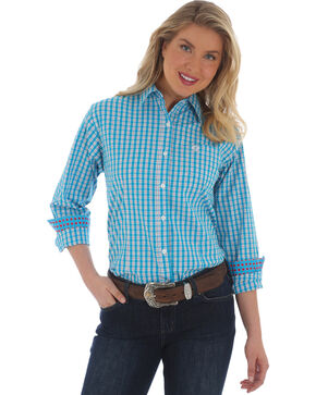 George Strait by Wrangler Women's Blue Plaid Long Sleeve Shirt , Multi, hi-res