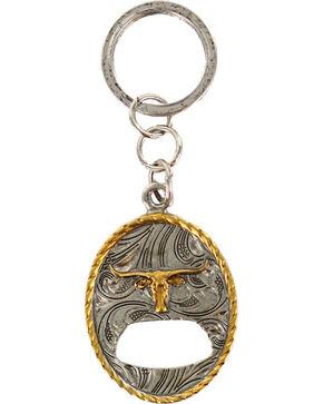 Cody James® Long Horn Bottle Opener Keychain, Silver, hi-res