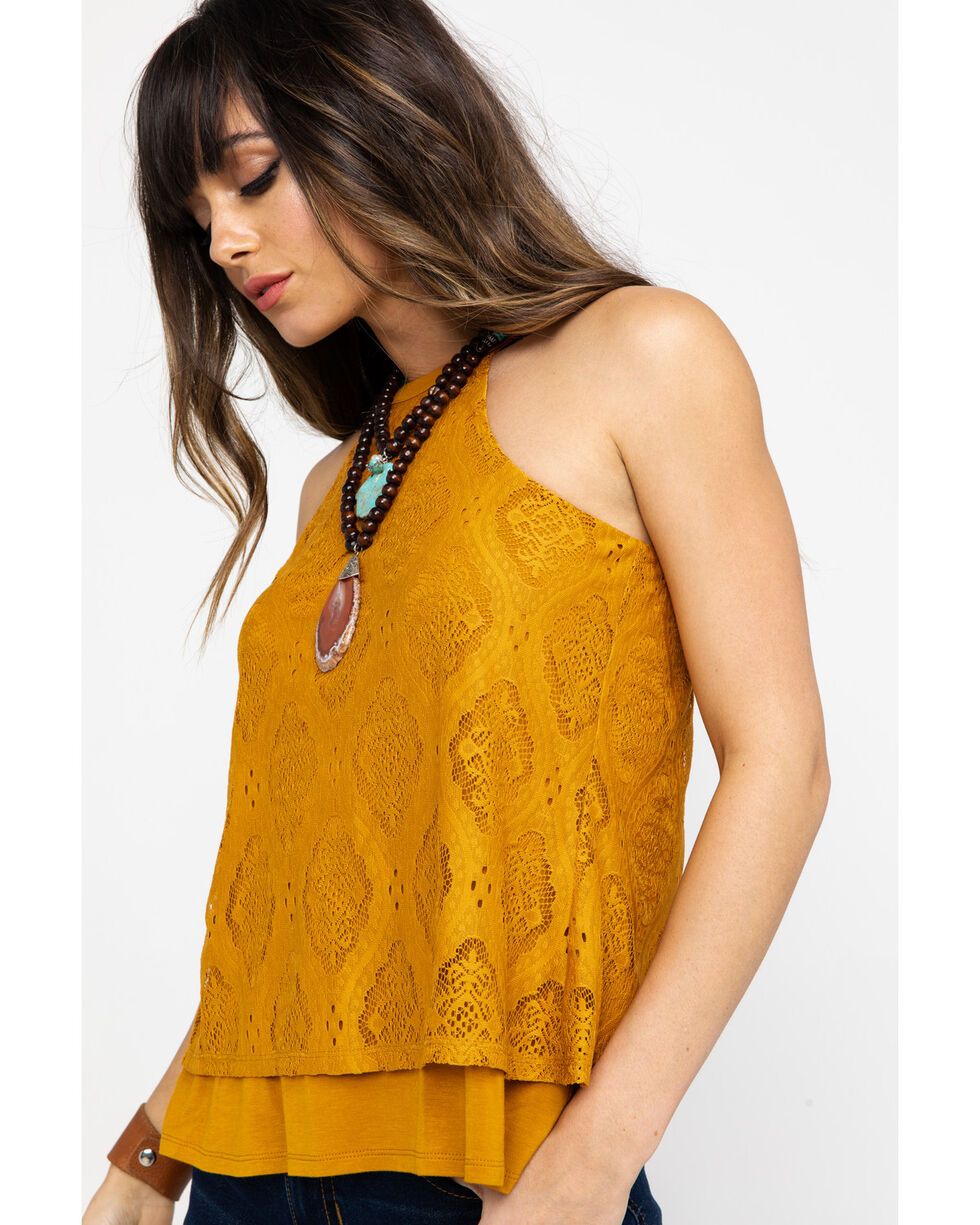 Shyanne Women's Lace Tulip Halter Top, Dark Yellow, hi-res