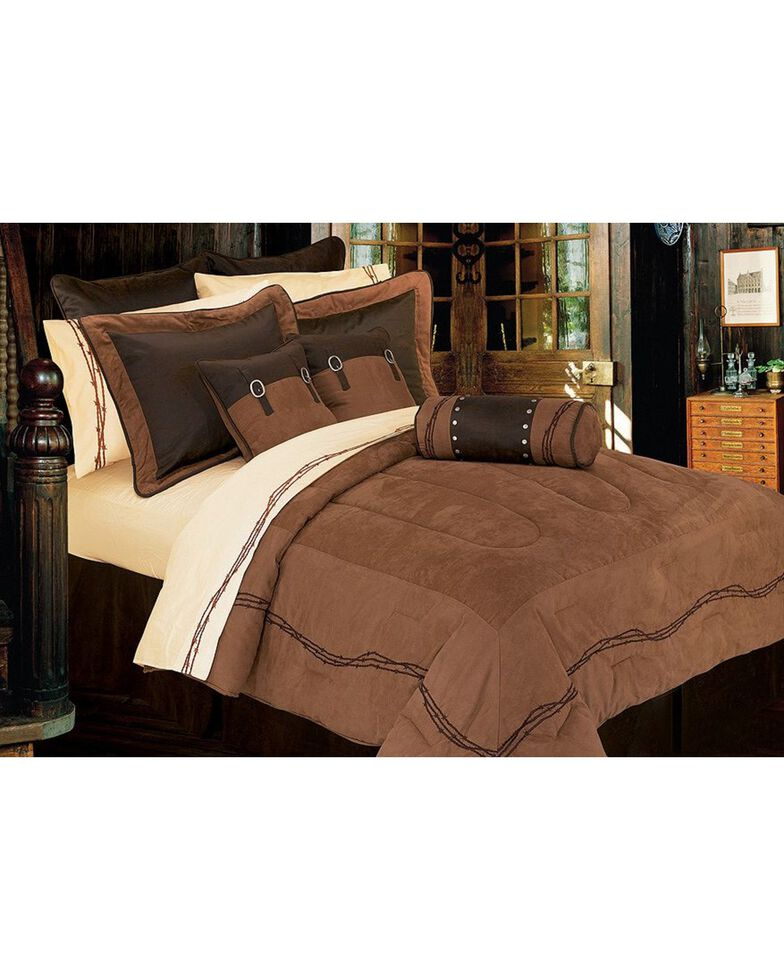 HiEnd Accents Embroidered Barbwire Comforter Set, Dark Brown, hi-res