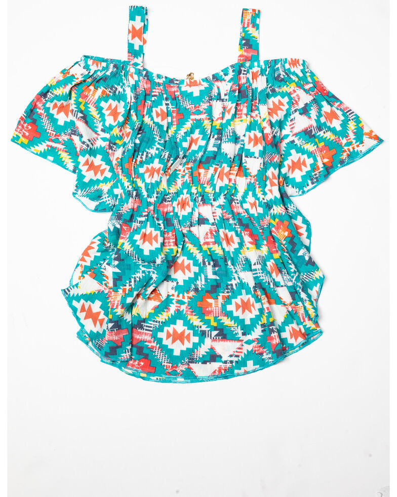 Shyanne Girls' Cold Shoulder Aztec Printed Top, Multi, hi-res