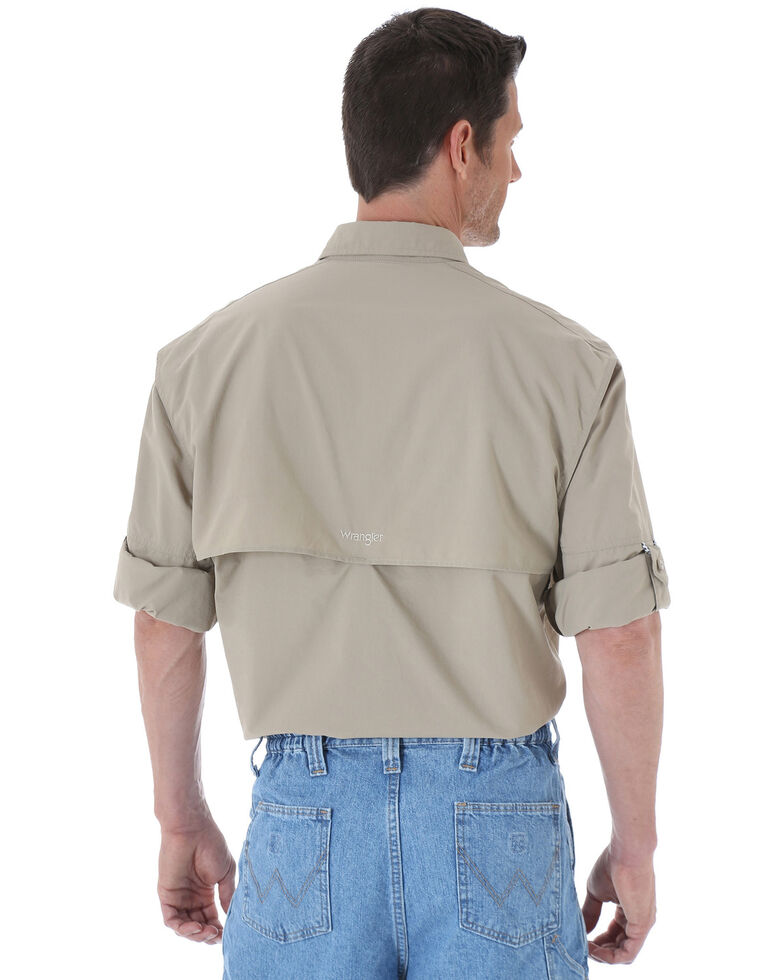 Wrangler Men's ProGear® Long Sleeve Angler Shirt, Khaki, hi-res