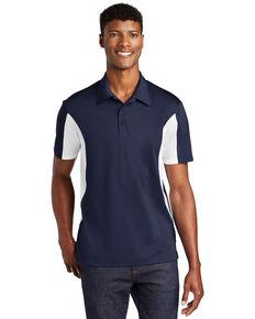 Sport Tek Men's True Navy & White Side Color Blocked Sport Wick Short Sleeve Polo Work Shirt , Multi, hi-res