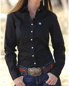 Cinch Women's Western Weave Pocket Shirt, Black, hi-res