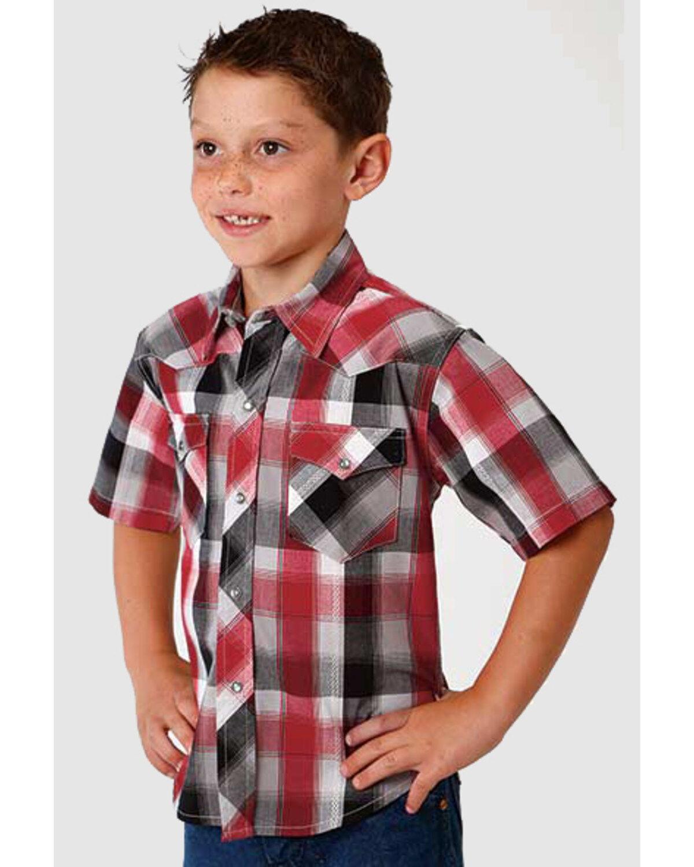 Roper Boys/' Performance Sundown Plaid Short Sleeve Western Shirt