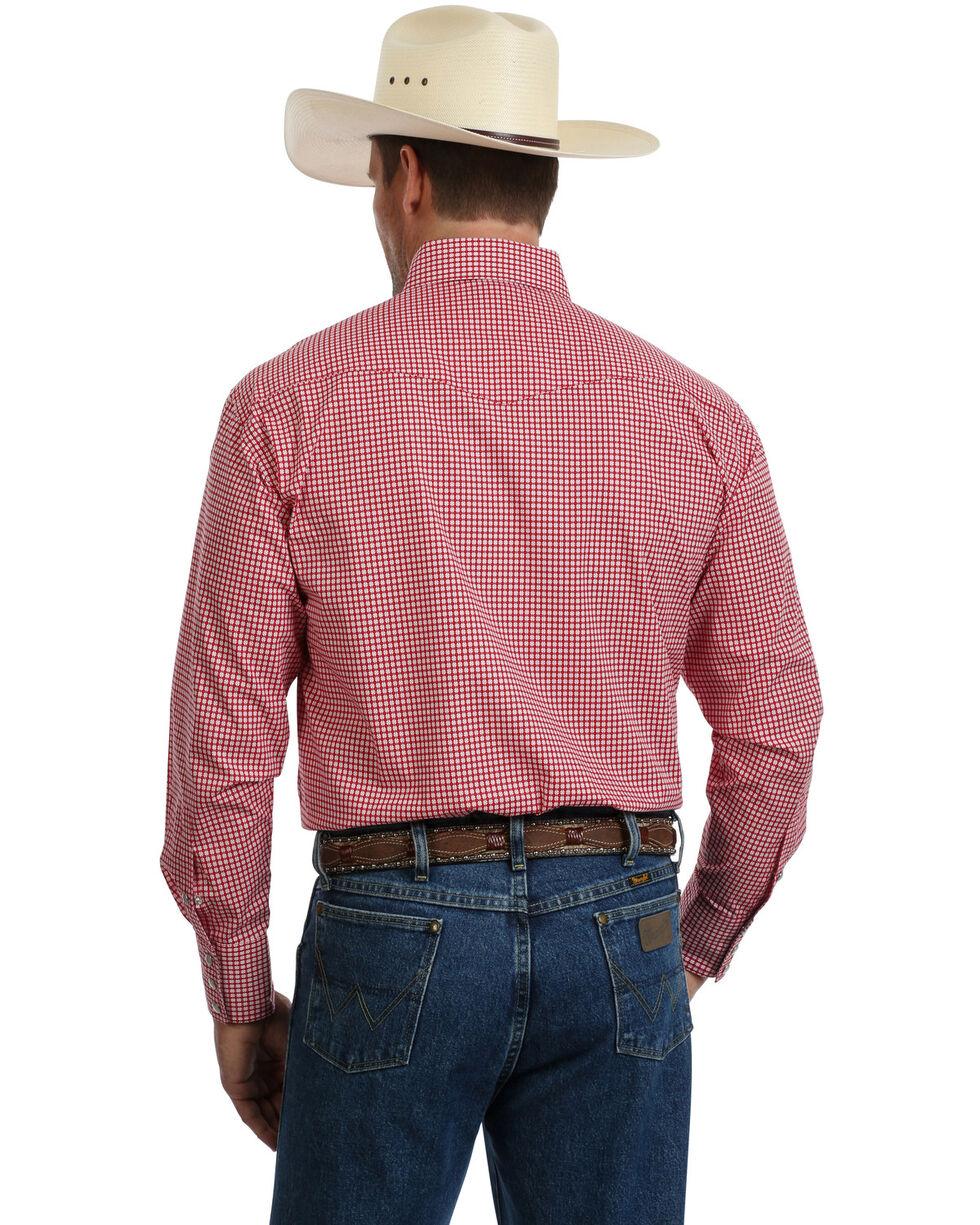 George Strait by Wrangler Men's Red Troubadour Geo Print Long Sleeve Western Shirt, Red, hi-res