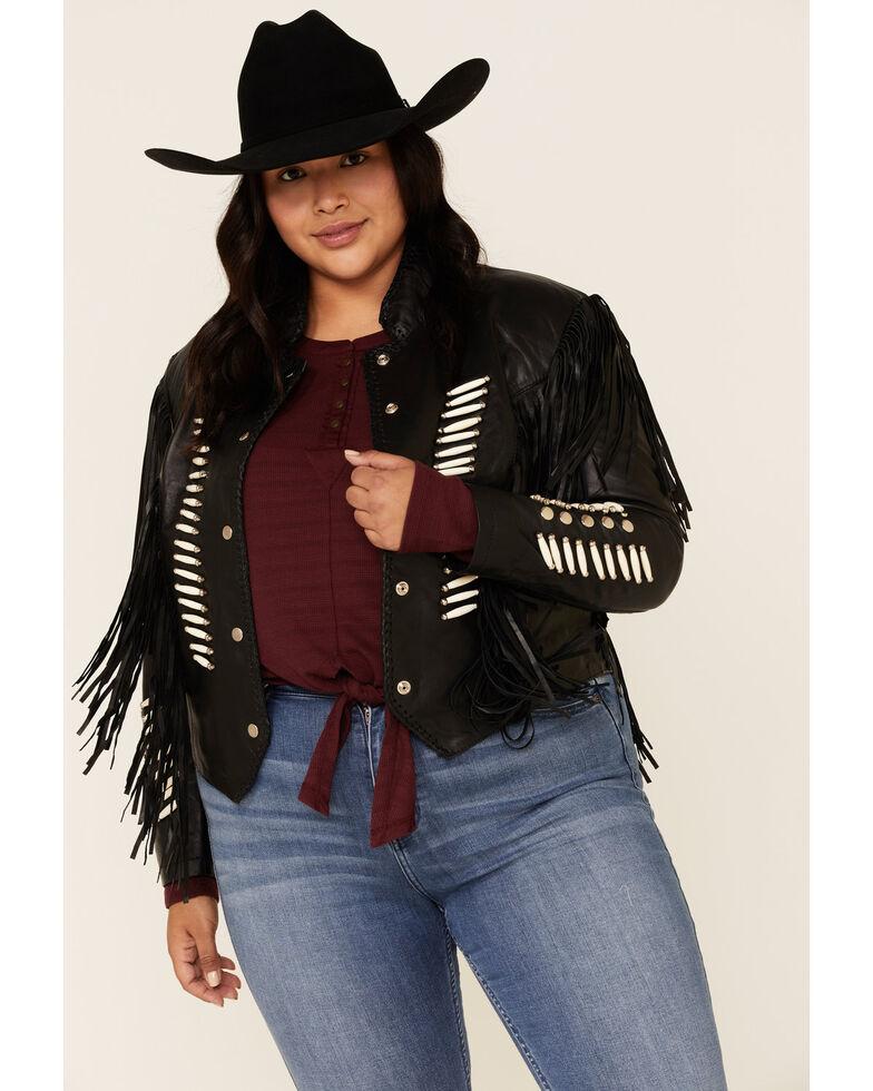 Liberty Wear Women's Black Fringe Sheep Napa Jacket - Plus , Black, hi-res