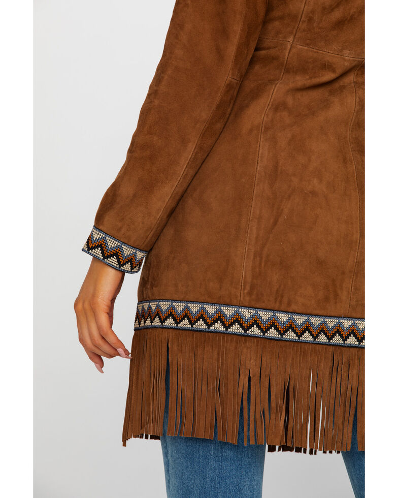 Leatherwear by Scully Women's Cinnamon Boar Suede Embroidered Band Coat, Brown, hi-res