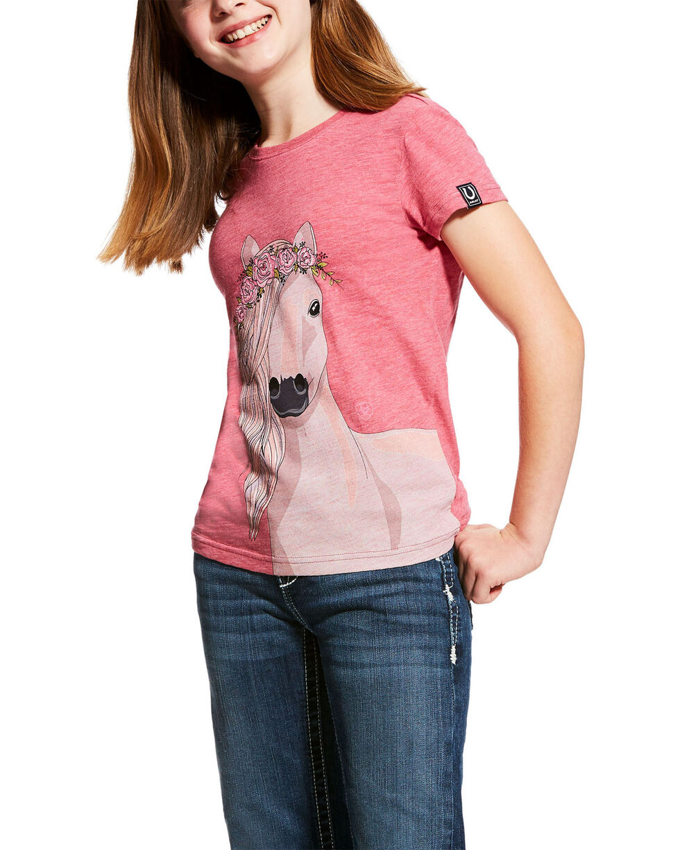 Ariat Girls' Pink Festival Horse Graphic Tee , Bright Pink, hi-res