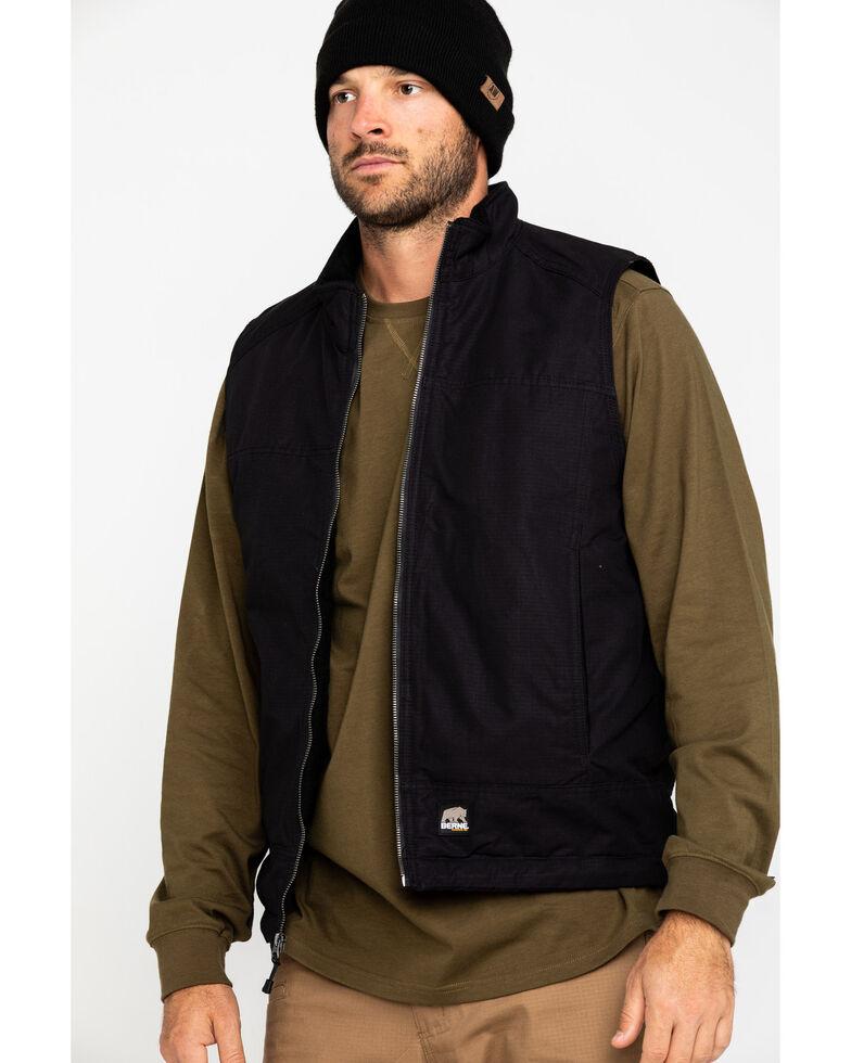 Berne Men's Black Torque Ripstop Zip Front Work Vest , Black, hi-res