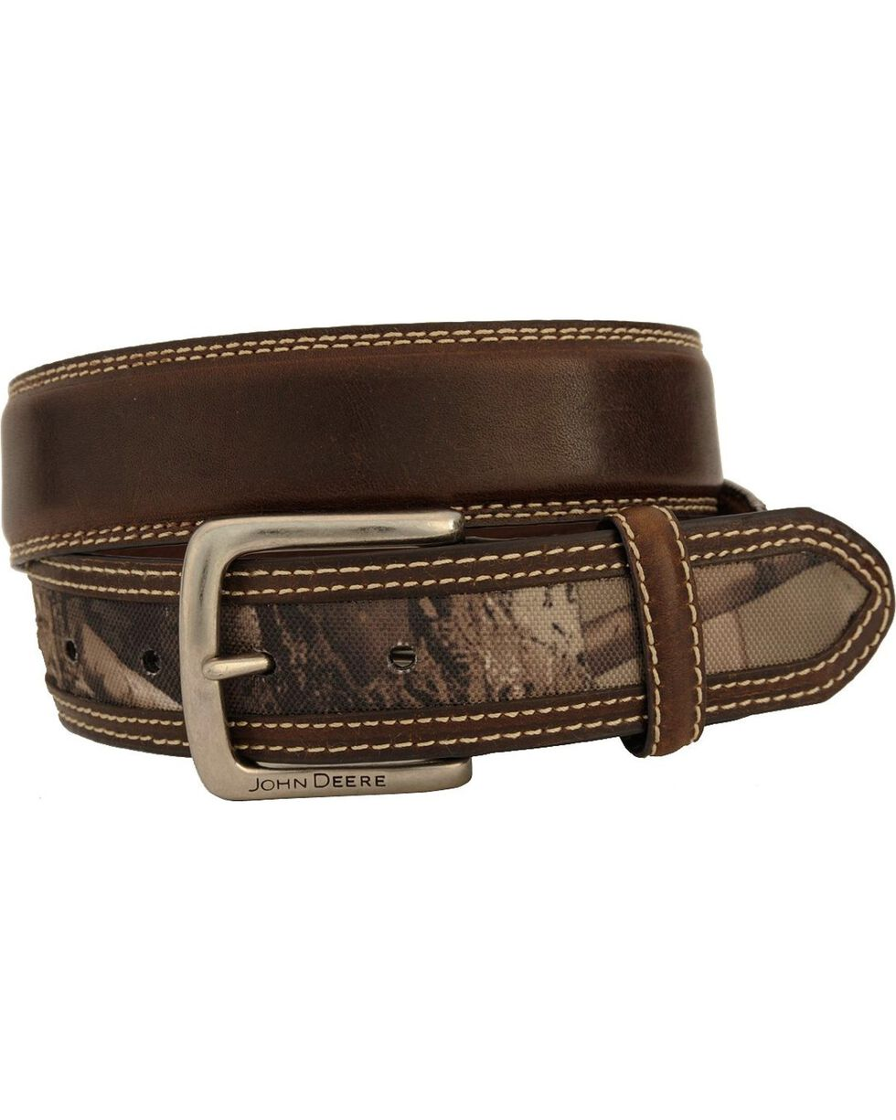 John Deere Camo Leather Belt, Brown, hi-res