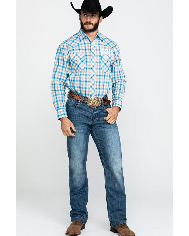 Wrangler Men's Blue Plaid Ram Logo Long Sleeve Western Shirt , Blue, hi-res