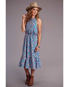 Stetson Women's Blue Floral Prairie Dress, Multi, hi-res