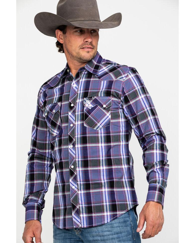 Wrangler Retro Men's Purple Large Plaid Long Sleeve Western Shirt , Black/purple, hi-res