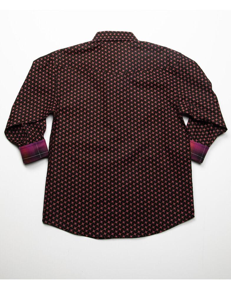 Panhandle Select Boys' Black Geo Print Long Sleeve Western Shirt , Black, hi-res