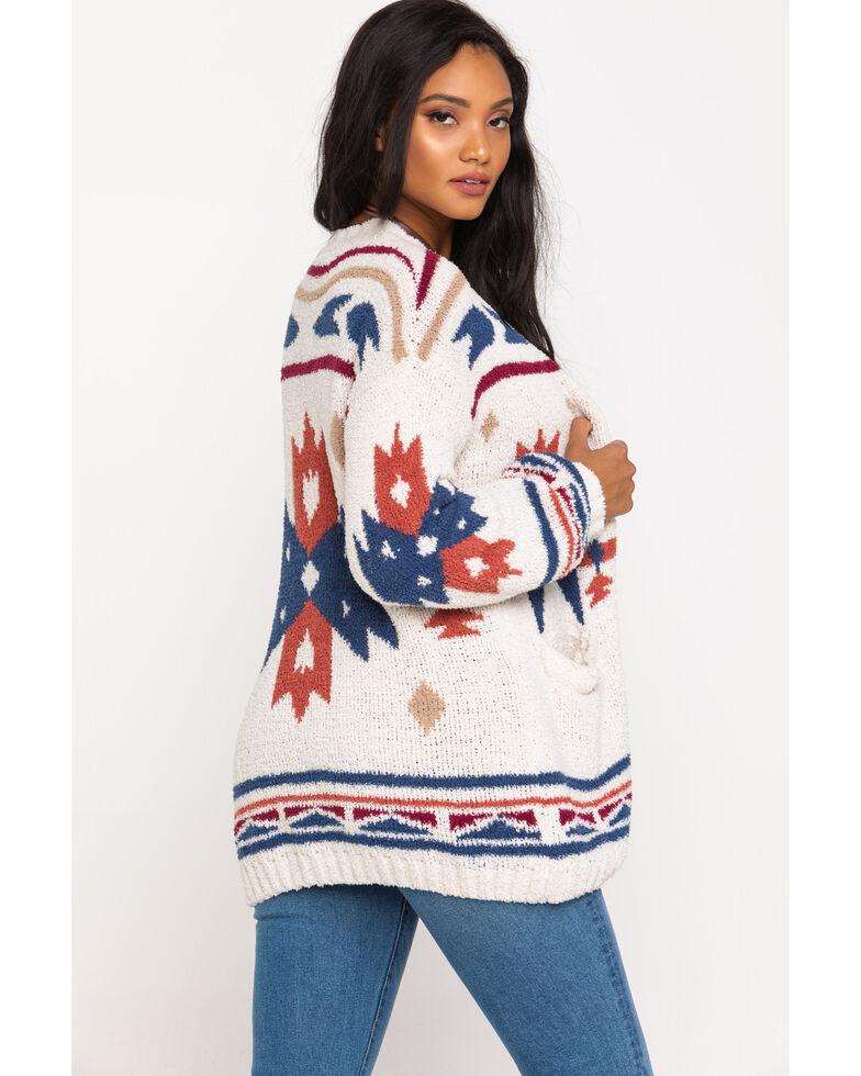 Very J Women's Cream Aztec Cardigan , Cream, hi-res