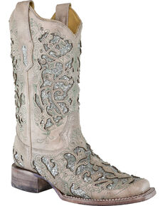 Corral Women's Glitter & Crystals Cowgirl Boots - Square Toe, White, hi-res