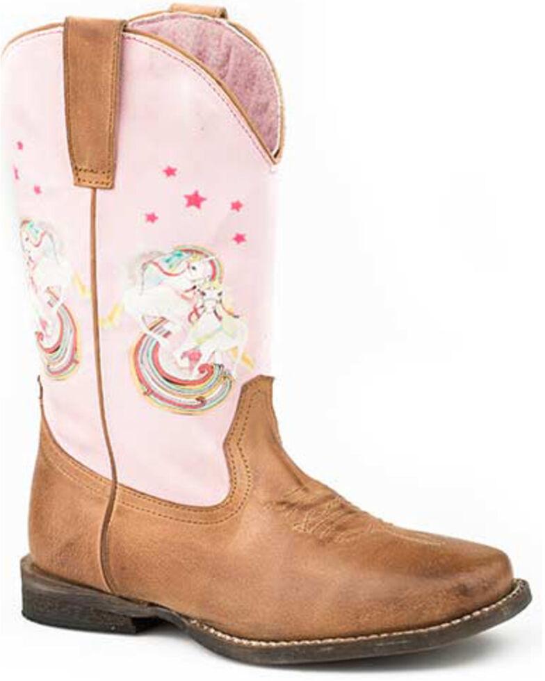 Roper Girls' Unicorn Shaft Western Boots - Square Toe, Tan, hi-res