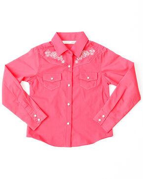 Cumberland Outfitters Girls' Solid Fuschia Embroidered Long Sleeve Western Top , Pink, hi-res
