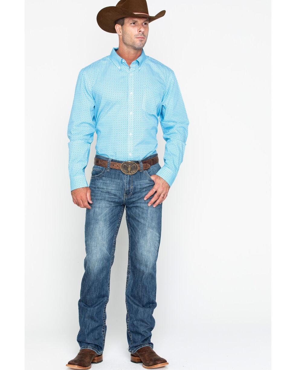 Cody Core Men's Kaleidoscope Geo Print Button Long Sleeve Shirt , Turquoise, hi-res
