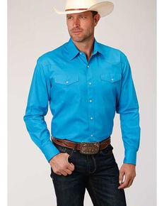Amarillo Men's Turquoise Solid Poplin Long Sleeve Western Shirt , Blue, hi-res