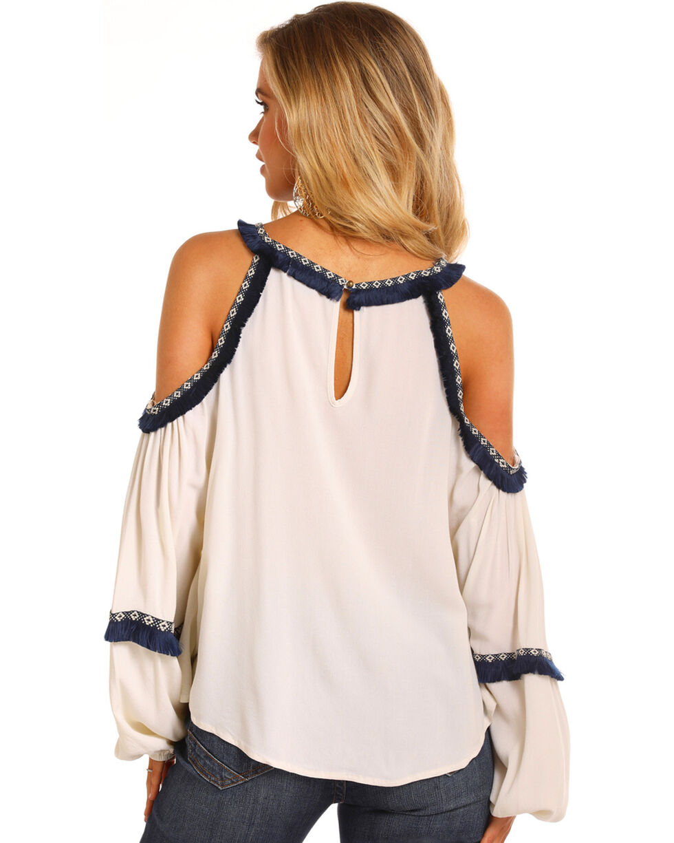 Rock & Roll Cowgirl Women's Navy Trim Cold Shoulder Blouse, White, hi-res