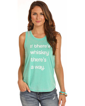 Rock & Roll Cowgirl Women's If There's Whiskey Tank, Teal, hi-res