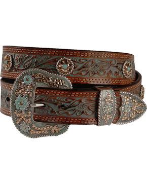 Nocona Women's Tooled Concho Belt, Tan, hi-res