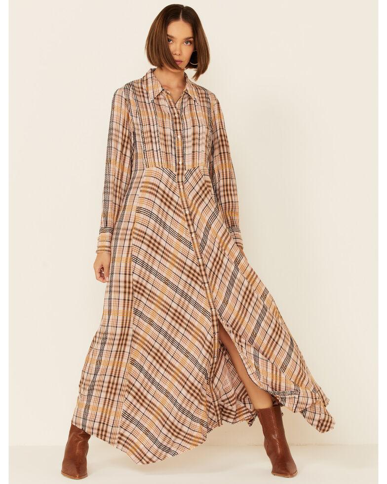 Free People Women's Sadie Plaid Maxi Dress , Natural, hi-res