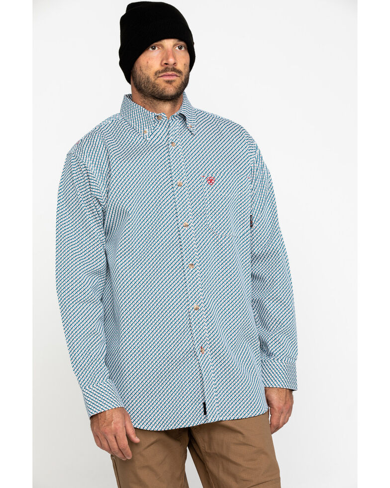 Ariat Men's FR Fleetwood Geo Print Long Sleeve Work Shirt - Big , Grey, hi-res