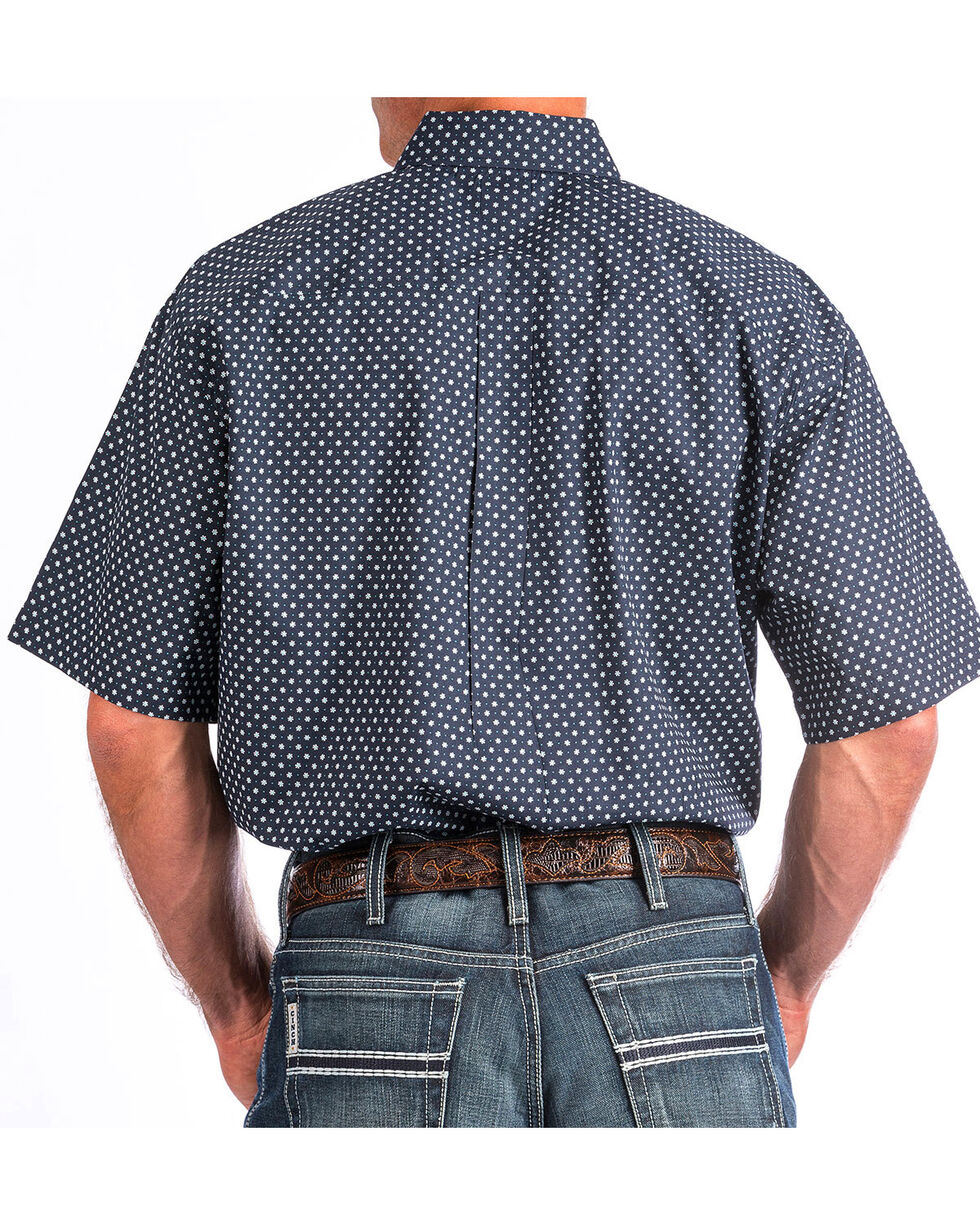 Cinch Men's Navy Floral Short Sleeve Shirt , Navy, hi-res