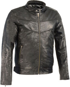 Milwaukee Leather Men's Stand Up Collar Leather Jacket - 5X Big , Black, hi-res