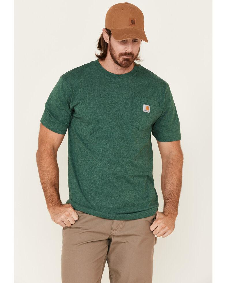 Carhartt Men's Dark Green Loose Fit Pocket Short Sleeve Work T-Shirt , Dark Green, hi-res