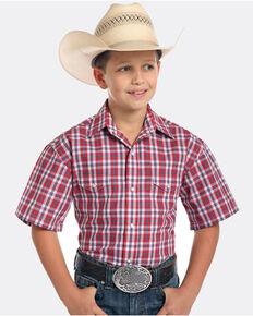 Panhandle Boys' Rough Stock Buckner Vintage Plaid Short Sleeve Western Shirt , Red, hi-res
