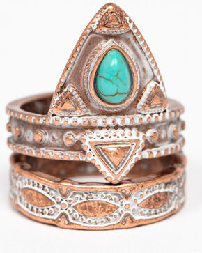 Shyanne Women's Wanderlust Copper 2 Pack Ring Set, Tan/copper, hi-res