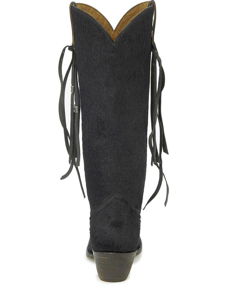 Tony Lama Women's Black Hair On Hide Tassel Cowgirl Boots - Snip Toe, Black, hi-res