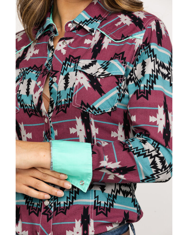 Dale Brisby by Rock & Roll Cowgirl Women's Teal Aztec Long Sleeve Western Shirt, Teal, hi-res