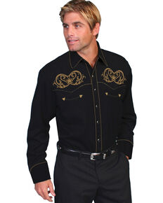 Scully Men's Embroidered Star Western Shirt    , Black, hi-res