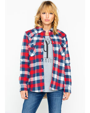 Wrangler Women's Sherpa Lined Boyfriend Flannel Shirt Jacket, Red, hi-res