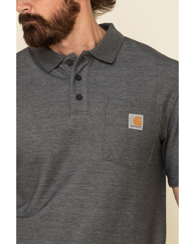 Carhartt Men's Contractors Work Pocket Short Sleeve Polo Shirt , Heather Grey, hi-res