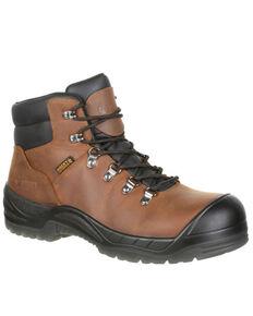 Rocky Men's Worksmart Waterproof Work Boots - Round Toe, Brown, hi-res