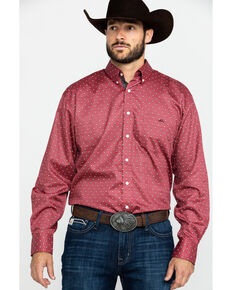 Resistol Men's Sycamore Geo Print Long Sleeve Western Shirt , Red, hi-res