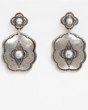 Shyanne Women's Bella White Howalite Aztec Concho Earrings, Silver, hi-res