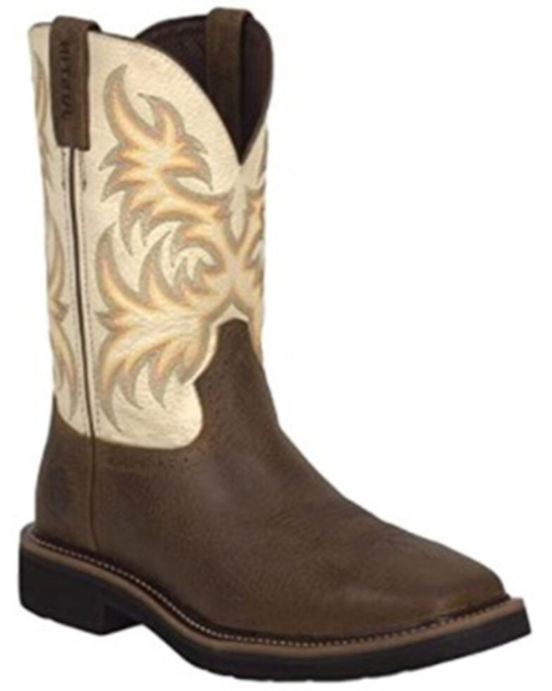 Justin Men's Driller Western Work Boots - Soft Toe, Tan, hi-res