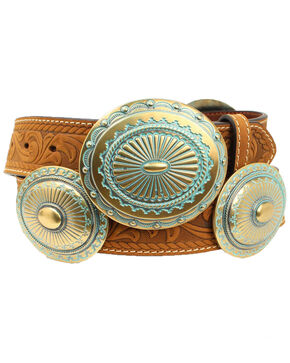 Ariat Women's Tooled 3-Buckle Western Belt, Medium Brown, hi-res