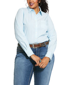 Ariat Women's Blue Cactus Long Sleeve Western Shirt - Plus, Blue, hi-res
