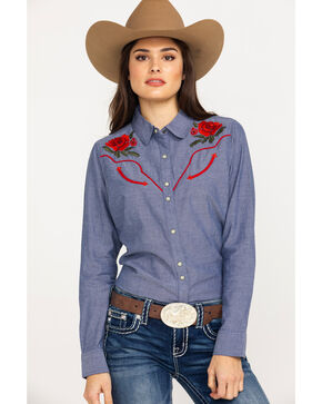 Ariat Women's Real Lively Dark Denim Snap Long Sleeve Western Shirt, Blue, hi-res