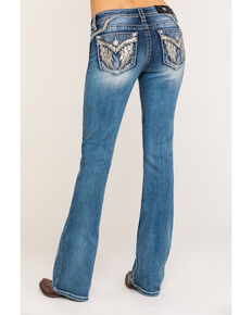 "Miss Me Women's Light Angel Wing 32"" Bootcut Jeans, Blue, hi-res"